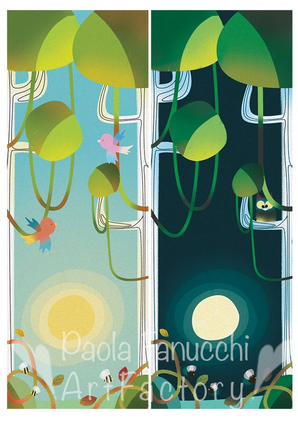 Day and Night - digital illustration - fall 2012