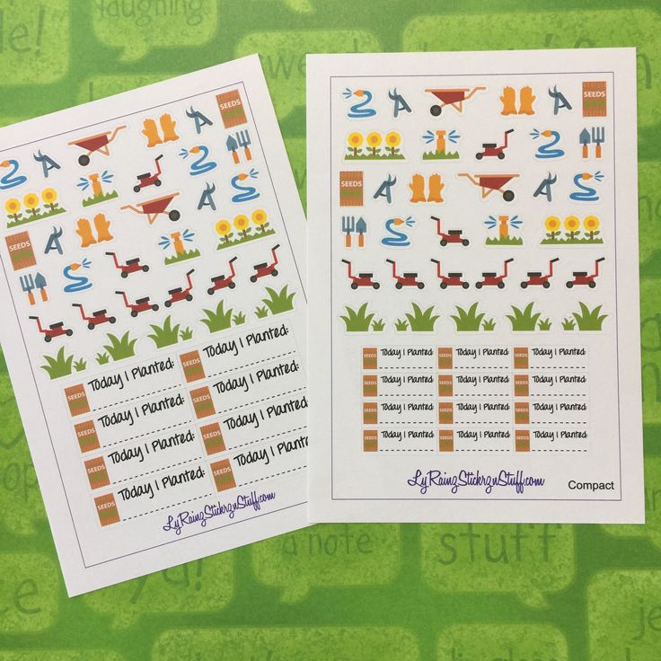 Gardening Stickers & Strips for the Weekly layout in the Compact and  Classic sized Passion Planners