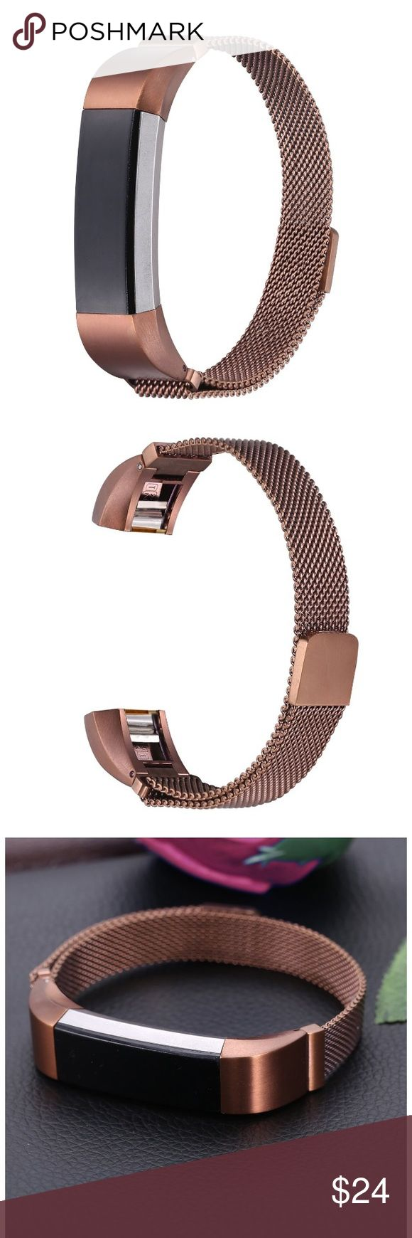 💜CHIC FITBIT BAND/COFFEE BROWN MILANESE LOOP MESH This very sturdy Milanese mesh adjustable band has very strong magnets to hold it secure. Turn your FITBIT fitness tracker into a fashion statement piece bracelet. AVAILABLE in SILVER, GOLD, BLACK, ROSEGOLD & PINK. Very easy to attach to your FITBIT!  See other listings for color choices.  It fits the ALTA and HR (Heart rate) models. See listings for fun prints & colors of ALL FITBIT BANDS for various models in silicone, too! I'm always…