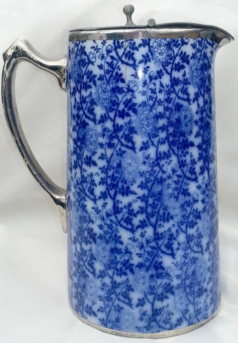 Antique FLOW BLUE Transfer Ware JUG Pitcher Hinged PEWTER LID & Closure Weight | eBay
