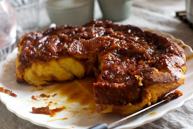 Morning Bread Pudding with Salted Caramel