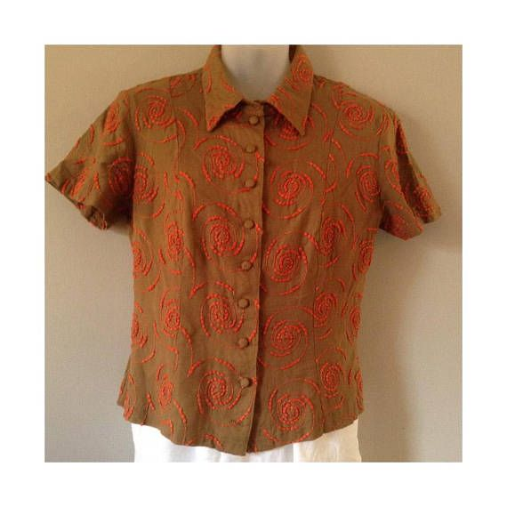 Vintage Betsey Johnson Khaki Top with Orange Embroidered Swirls Size Medium Short Sleeve Fabric Covered Buttons Leave Out Top Made in U.S.A.