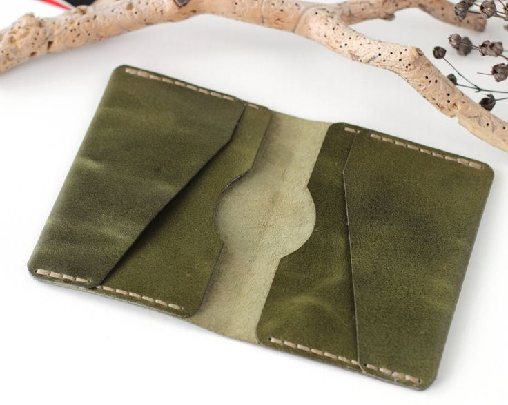 Green leather card wallet leather business card holder leather card holder travel accessories card holder wallet leather travel wallet green by KodamaLife on Etsy