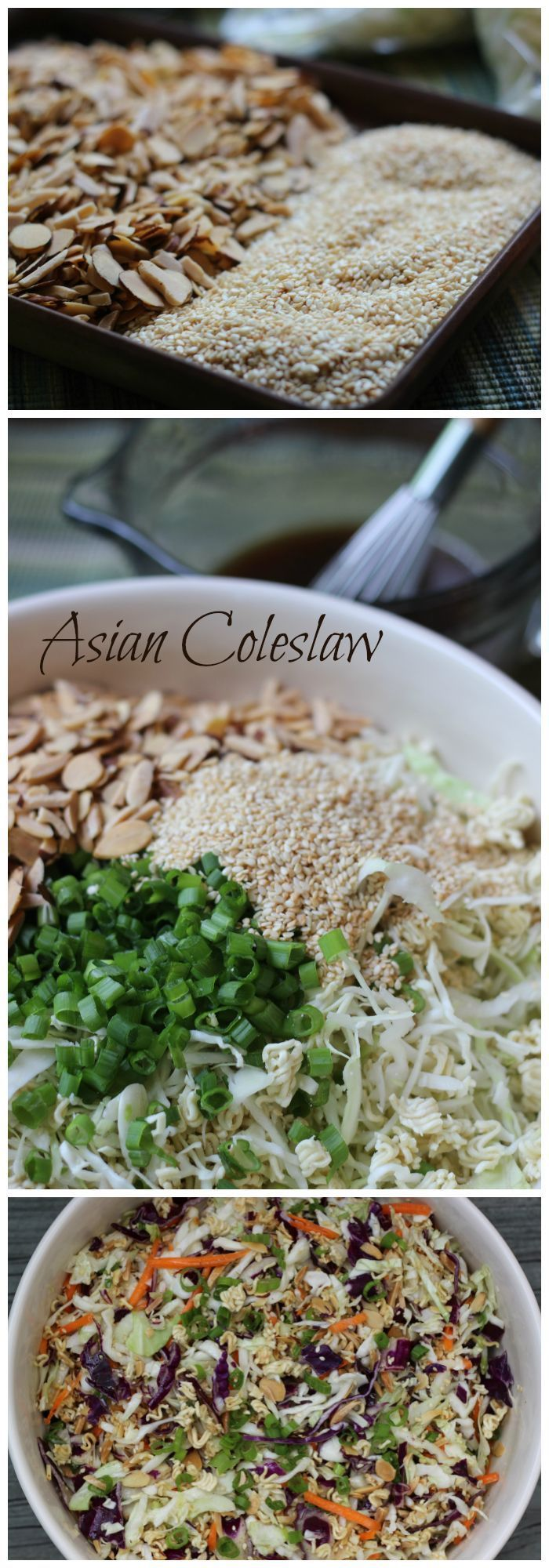 Asian Coleslaw with Ramen Noodles recipe. A healthy recipe, tangy and crunchy, that will feed a crowd | http://ChaosIsBliss.com