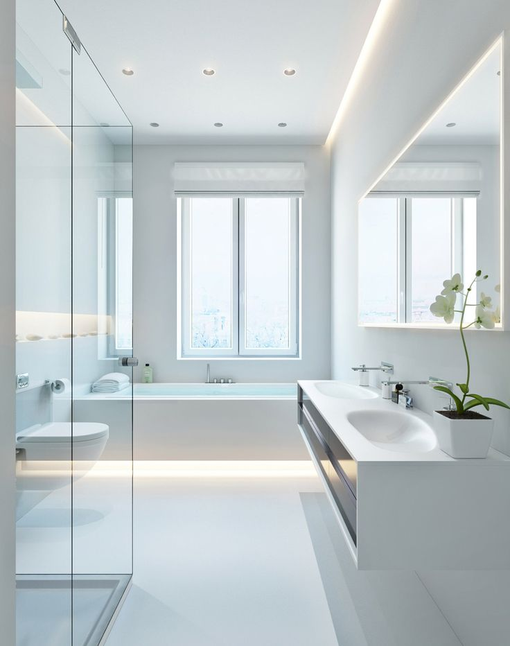 Three Apartments With Extra Special Lighting Schemes Modern White Bathroomwhite
