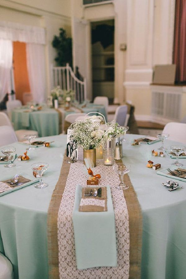 Mint, burlap and lace wedding ideas / http://www.deerpearlflowers.com/rustic-wedding-ideas-with-burlap-touches/2/