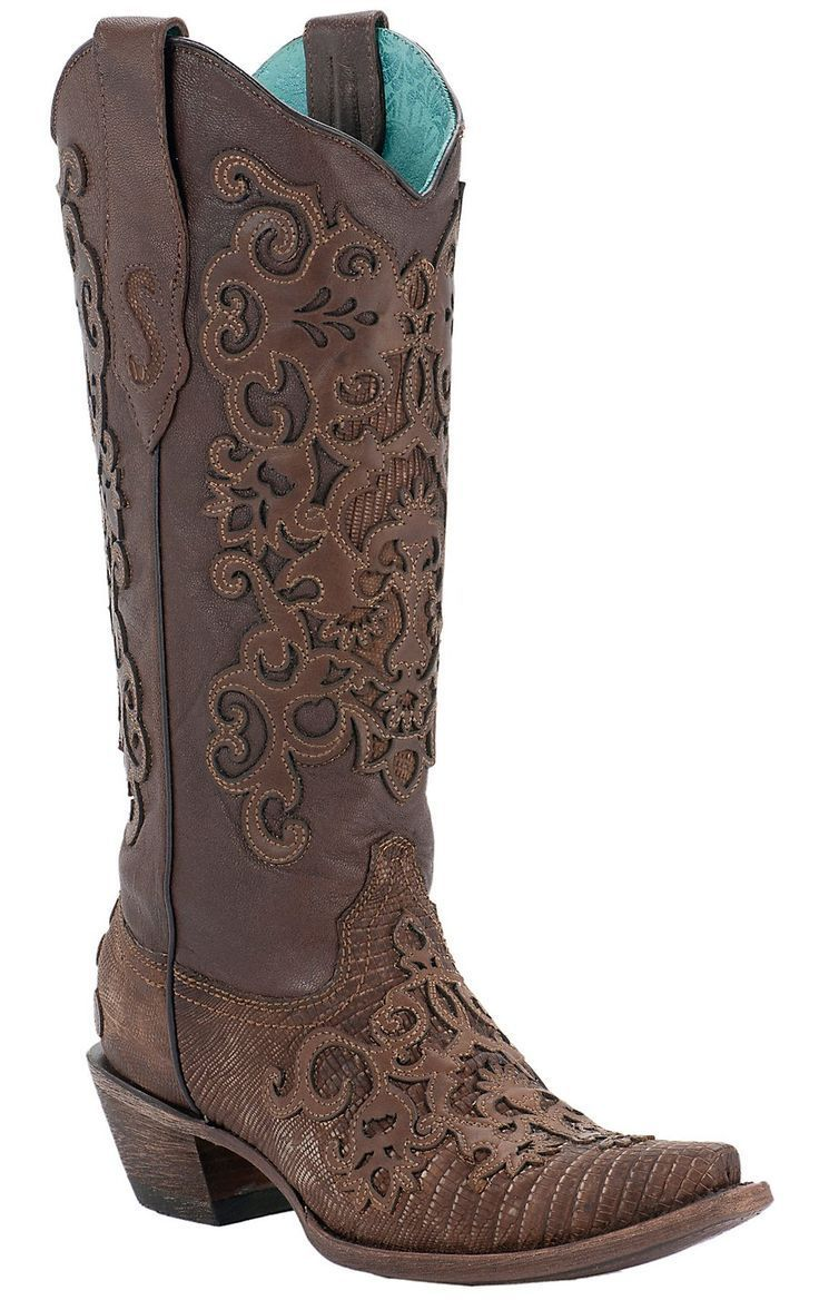Cowgirl Boots I love to wear with a dress! Ladies Brown Lizard w/ Leather Lace Overlay Snip Toe Exotic Western Boots |