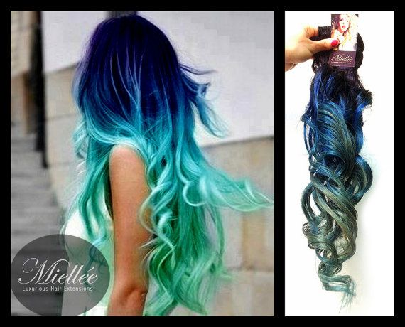 Mermaids mermaid hair and colored hair on pinterest of mermaid clip in hair extensions mermaid ombre blue and turquoise human hair b clip in hair extensions mermaid ombre blue and turquoise human hair pmusecretfo Images