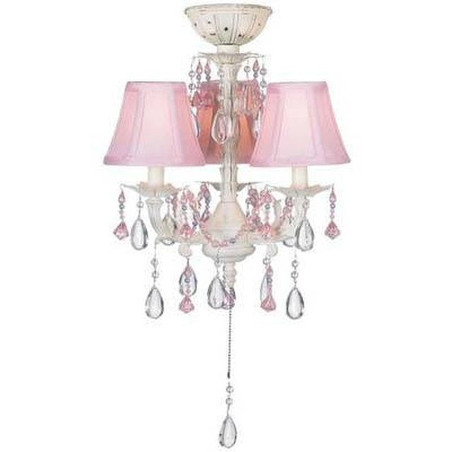 Pretty In Pink Chandelier-Style Ceiling Fan Light Kit