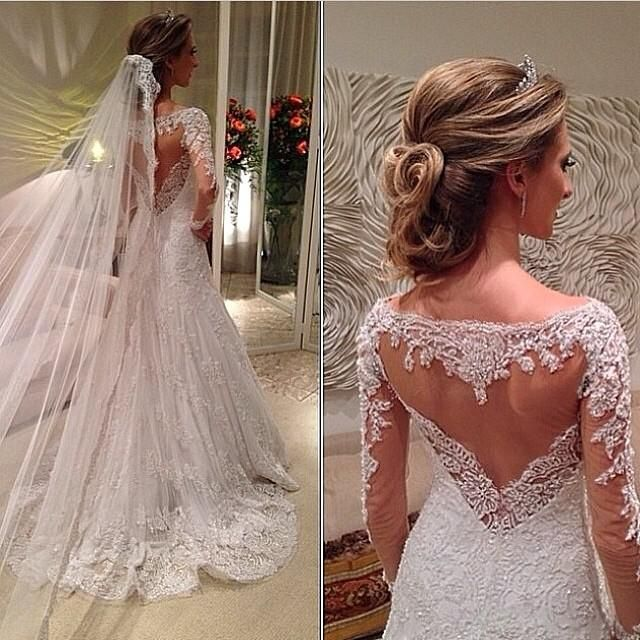 Discount Lace Wedding Dresses with Beads/sequins Long Sleeves Sweetheart Bodice Bateau Neck Sheer Open Back Sweep Mermaid Bridal Gowns Online with $157.39/Piece | DHgate