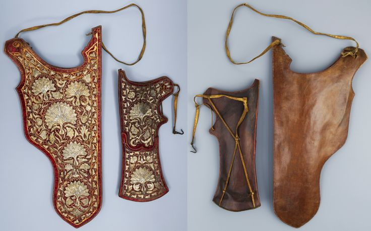 Ottoman quiver and bow case, late 16th to early17th century. Body made of leather, covered with red silk velvet, embroidered with gold and silver wire.  Museumslandschaft Hessen Kassel.