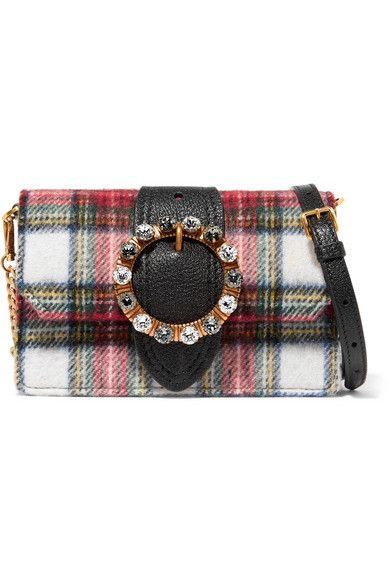 Miu Miu   Embellished leather and tartan wool-blend shoulder bag    NET-A-PORTER.COM 617af9a097