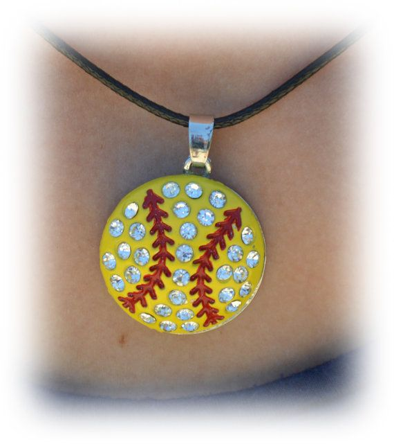 Softball Necklace Large Pendant Softball Necklace by SportyChicas