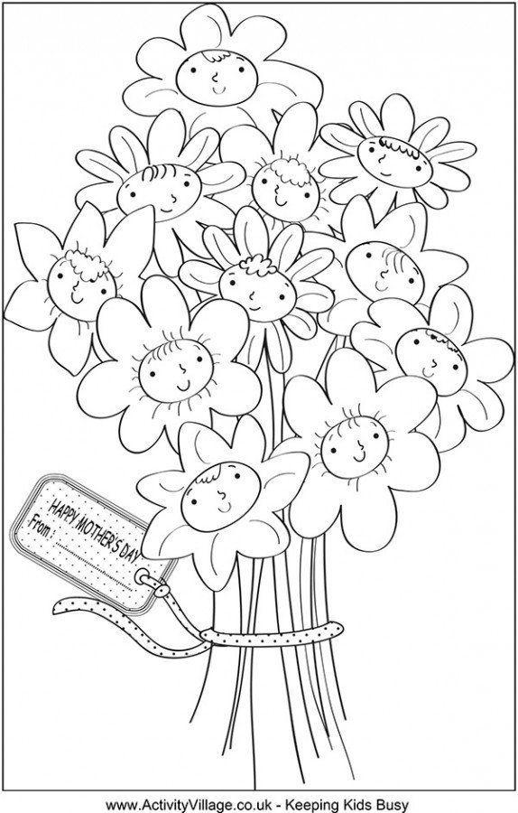 Раскраски открытки с днем рождения с цветами