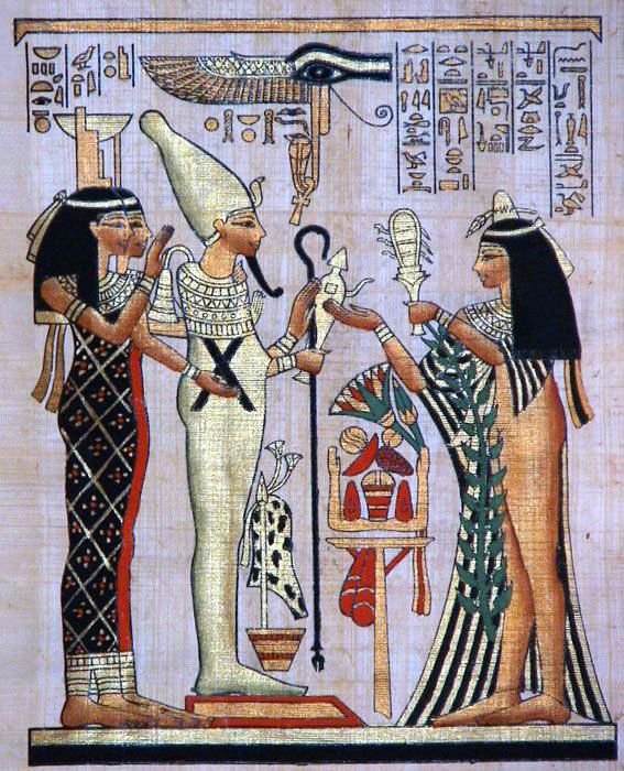 Princess approaches Osiris, Isis and Nephtys, illustration after an ancient Egyptian artwork