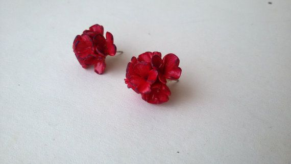 Flower earrings stud.polymer clay pinkpurple by jewelryfoodclay