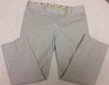 Boden Straight Leg Cropped Capri Pants Wm315 Grey And White Striped Uk 10R Us 6R