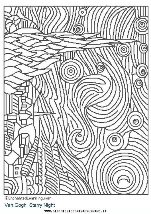 Van Gogh Free Coloring Pages | stampa questa pagina