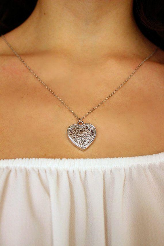 Collana filigrana collana cuore collana argentata di Stonivine