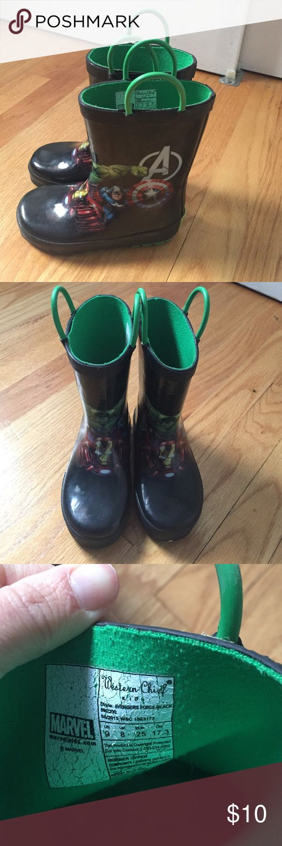 Superhero toddler boy rain boots Size 9 toddler boy rain boots.. great condition from a smoke free and pet free household. Has the Incredible Hulk, Captain America, Iron Man, and Thor pictured on the boots. Marvel Shoes Winter & Rain Boots