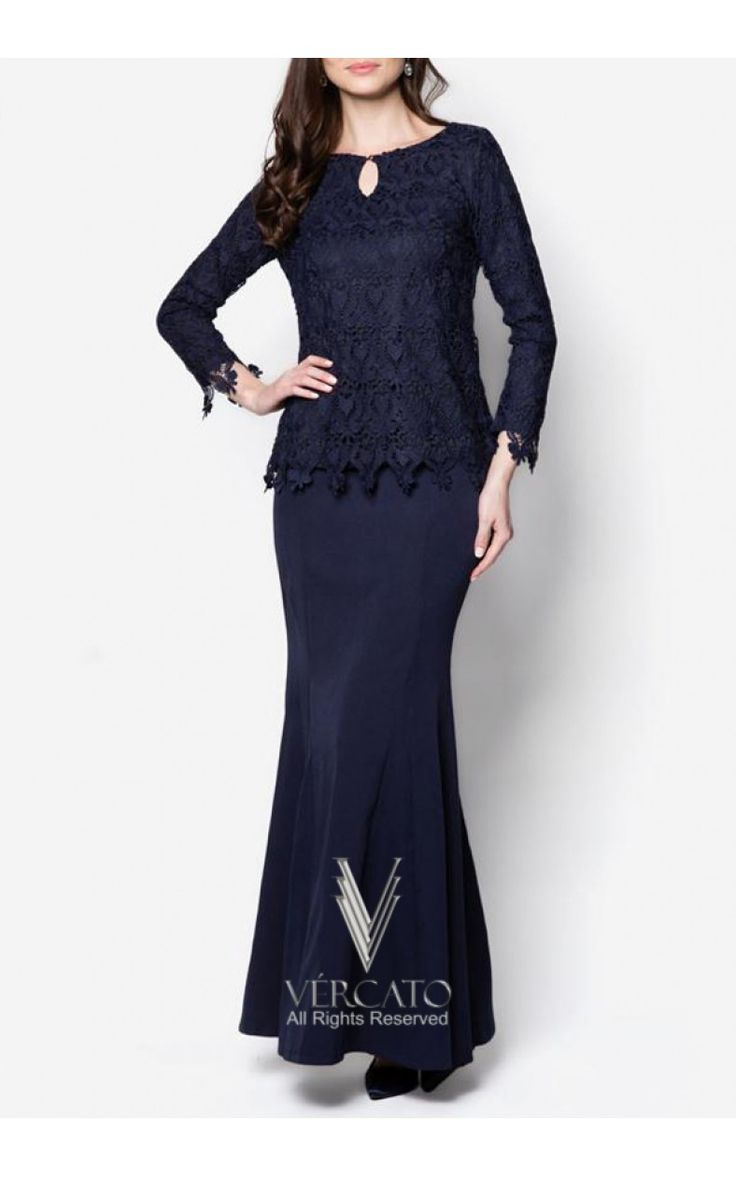 Baju Kurung Moden Lace with Keyhole - VERCATO Elsa in Navy Blue