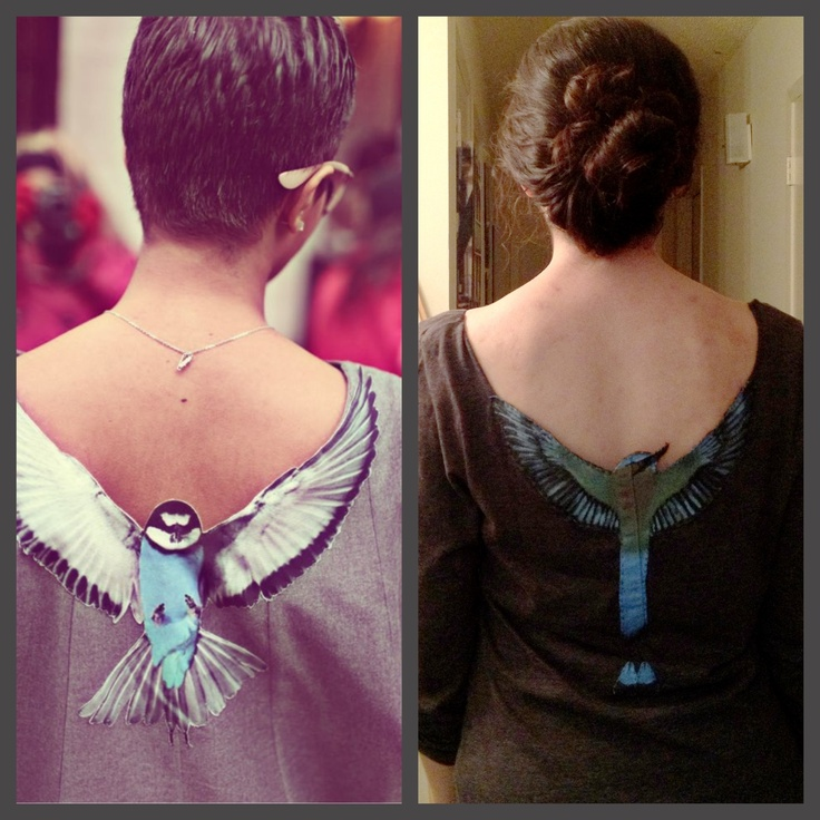 T-shirt with sewn on painted bird made with scrap denim (old jeans). Cut out back if shirt around wings. Minimal sewing