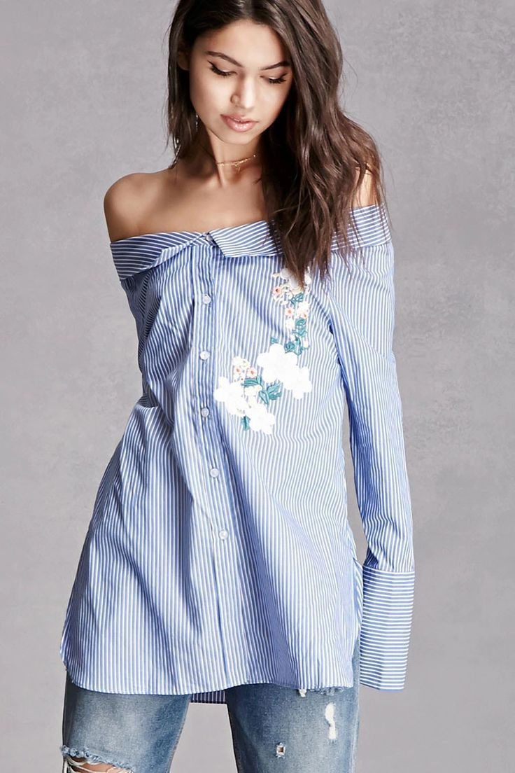 A woven oversized shirt featuring a pinstripe pattern, floral chest embroidery, off-the-shoulder neckline with a collar, a button front, long sleeves with button cuffs, and side slits. This is an independent brand and not a Forever 21 branded item.