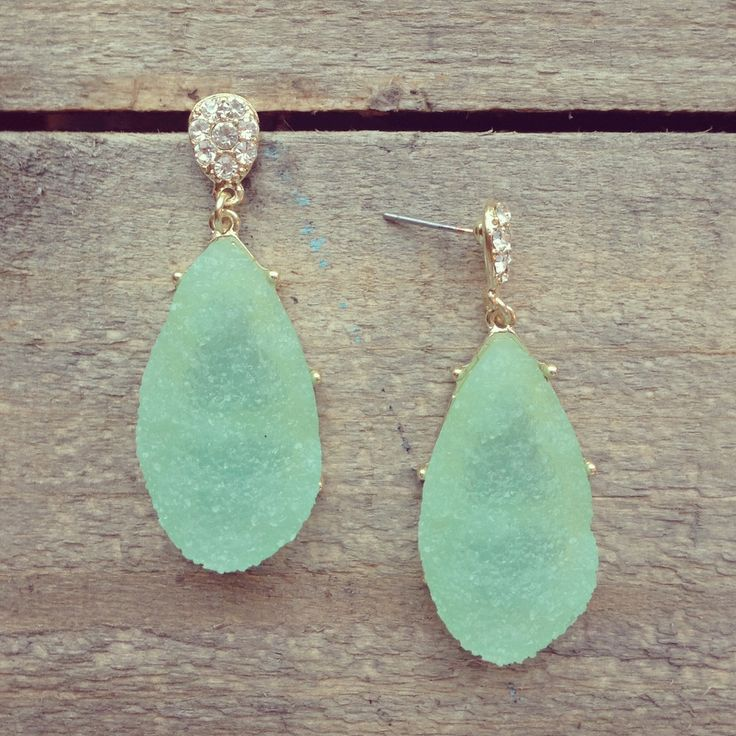 mint earrings.