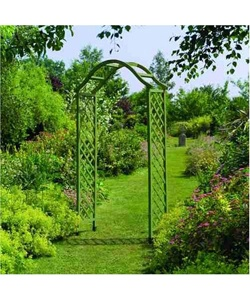 Gardman Green Treated Elegance Wooden #Garden Arch    Elegant but sturdy wooden construction.    Makes great feature which can be enhanced with climbing plants (not supplied).    Can be sunk into earth or concrete trenches or used with metal ground spikes, available separately.
