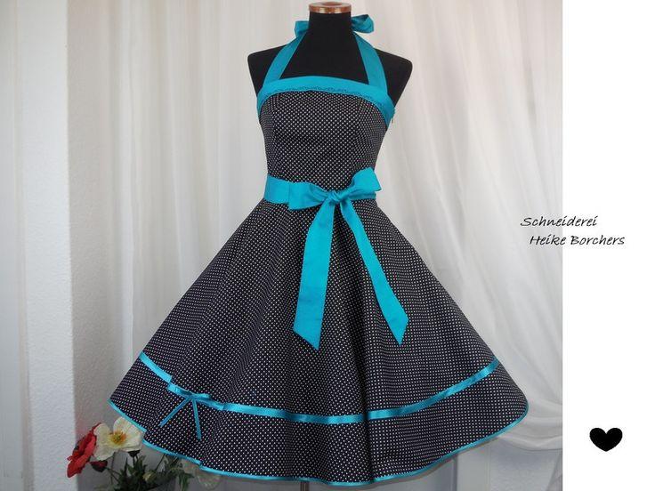 Petticoatkleider - Petticoatkleid Abiballkleid Gilda schwarz türkis - ein Designerstück von Schneiderei-Heike-Borchers bei DaWanda