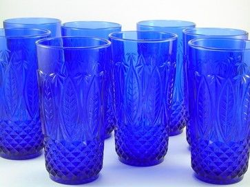 Vintage French Cobalt Blue Glasses by Midcentury Marfa traditional everyday glassware