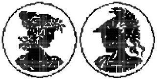 KOKŠOZA - ruční práce - hand work: černobílý křížkový steh - black and white cross-stitch