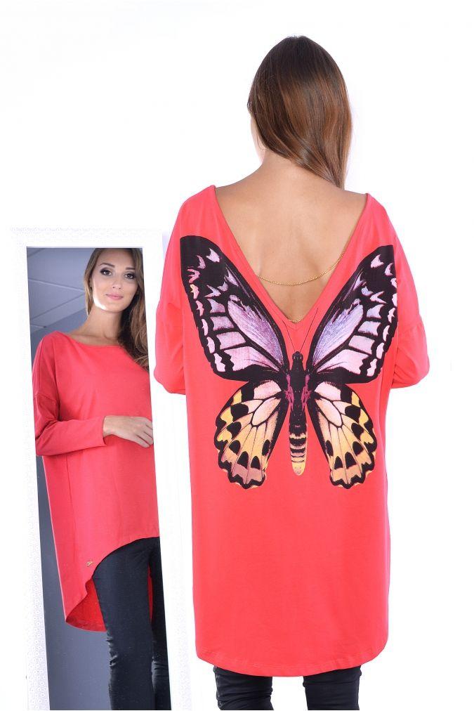 0d4f2bf959  Tunika  damska  PLUS  SIZE  xl  xxl asymetryczna  MOTYL kolory  tanio   modna  odzież  damska  online  sklep  internetowy  czerwony  koral