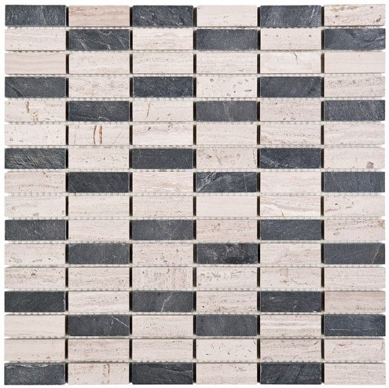 Mozaika Dunin Woodstone Grey Block Mix 48 30.5x30.5 cm