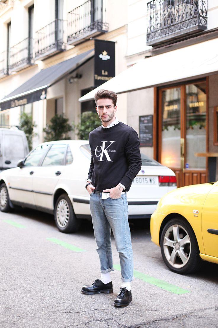 Calvin Klein Jeans sweatshirt, Batabasta shirt, Cheap Monday jeans and Dr. Marten shoes