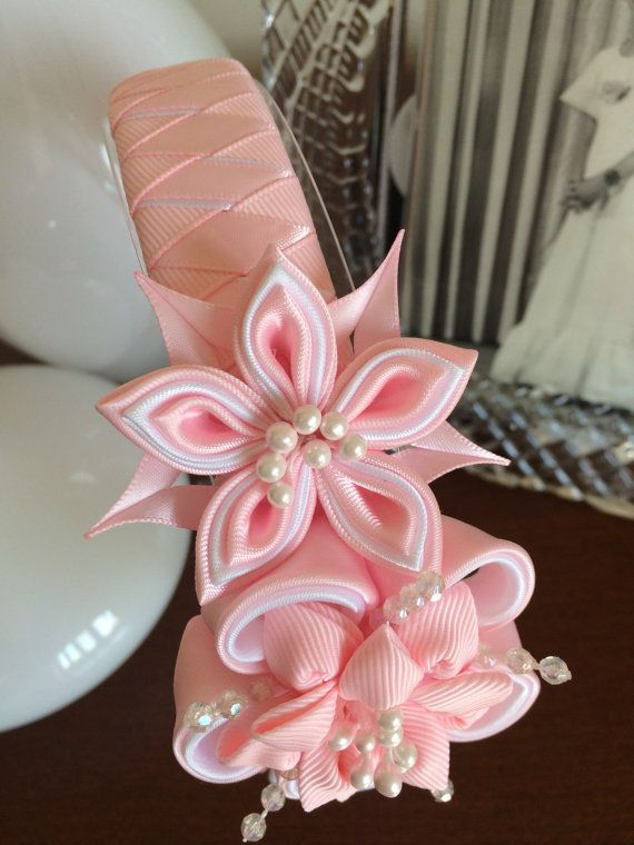 Pink girl headbandgirl headbandKanzashi flower by MagaroCreations
