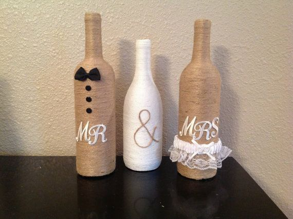 Mr & Mrs twine wine bottles by NorthwestdesignsbyHH on Etsy, $35.00
