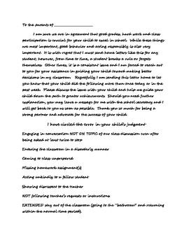 Poor Behavior Letter To Parent Teacher S Pay Teachers