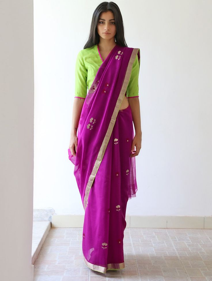 Amethyst Purple Golden Lime Green Fuchsia Mata Gurjari Chanderi & Zari #Saree By Raw Mango. Available Online at Jaypore.com.