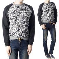 Stylehomme 90050 배색 카모 플라쥬 라운드 맨투맨 티셔츠 (2Color)