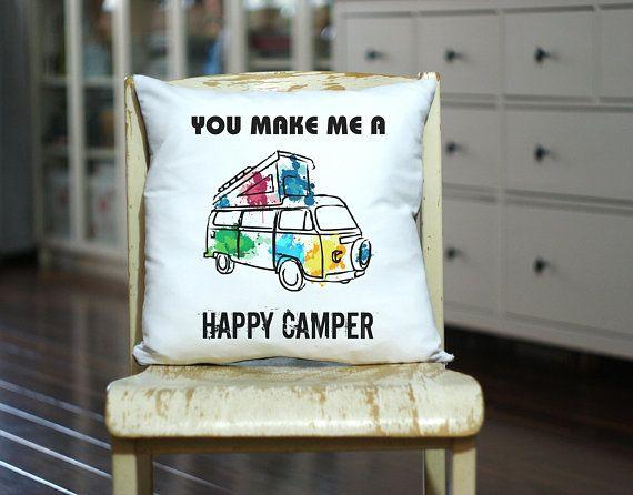 Happy Camper Pillow, Personalized Camp Pillow, Decorative Modern Vintage, Home Decor Pillow, Camper Decor, Vintage Camping Decor