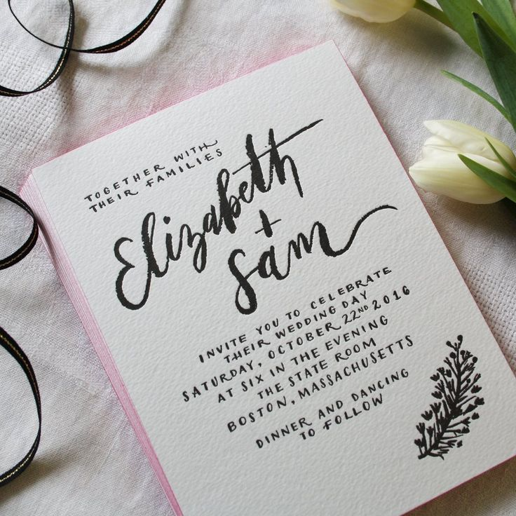 Painted Edge Calligraphy Elle Letterpress Invitation