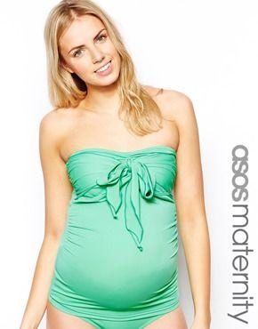 ASOS Maternity Exclusive Swimwear Tankini Top With Bow