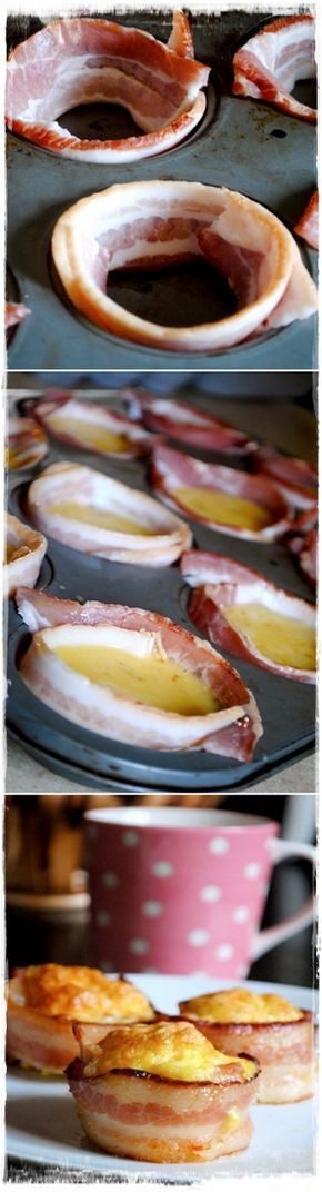 Bacon Egg Cups Makes 12 cups 12 slices bacon 8 eggs 1/2 cup shredded cheddar cheese pinch of salt 1/4 tsp black pepper Preheat oven to 350 degrees. Use non-stick spray, line each cup with bacon and fill 3/4 full with mixture. Bake for 30-35 mins.