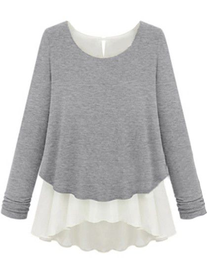 Contrast Chiffon Hem Loose Grey Sweater 14.67