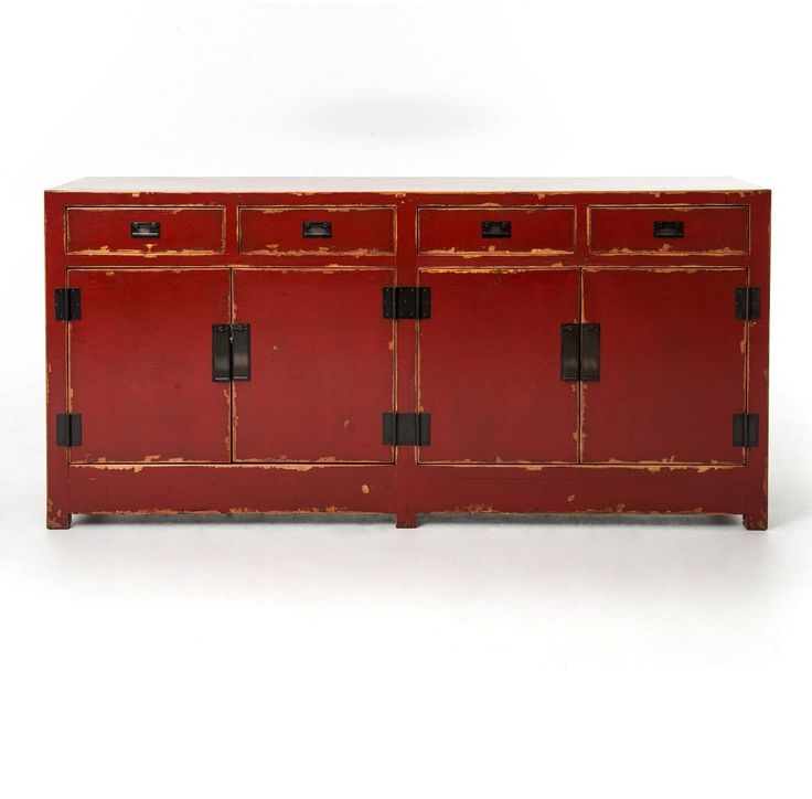 Zhang Tai 4 Door and 4 Drawer Red Buffet Sideboard | Zin Home