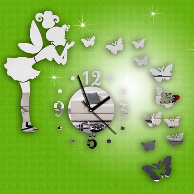 Promotion price 1pc Silver Creative Wall Clock DIY Modern Wall Sticker Fairy Butterfly Mirror Acrylic Home Decoration Safe and non-toxic just only $4.62 with free shipping worldwide  #wallstickers Plese click on picture to see our special price for you