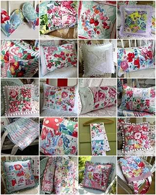 Cute pillows from old tablecloth scraps.  Lots of linens to choose from at The Dark Horse in Sunderland.  www.darkhorsestudio.ca
