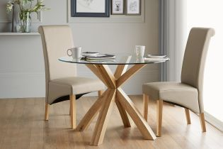 Oak And Glass Round Dining Table from Next
