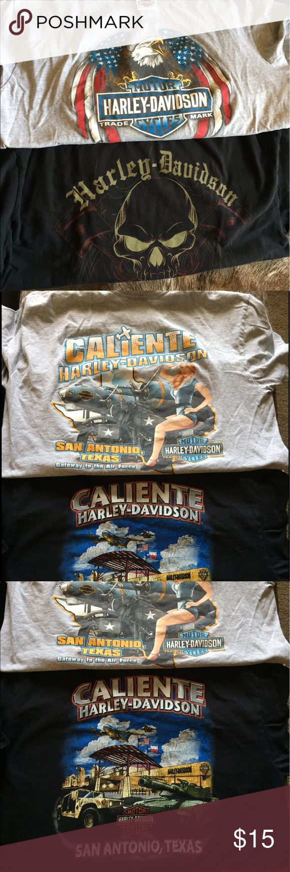Gently used Harley T-shirts Gently used Harley T-shirts from San Antonio Texas get two for the price of one Harley-Davidson Tops Tees - Short Sleeve